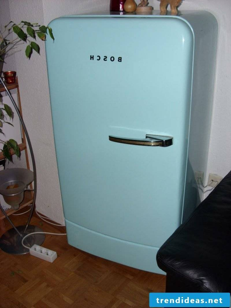 light blue Bosch retro fridge