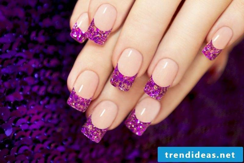 Fingernail Design Purple Glitter