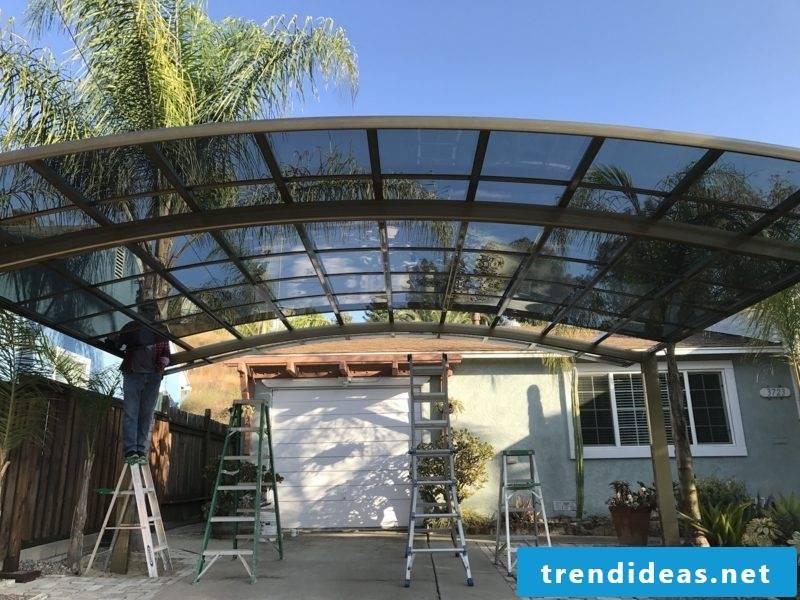Carport itself build modern glass roof