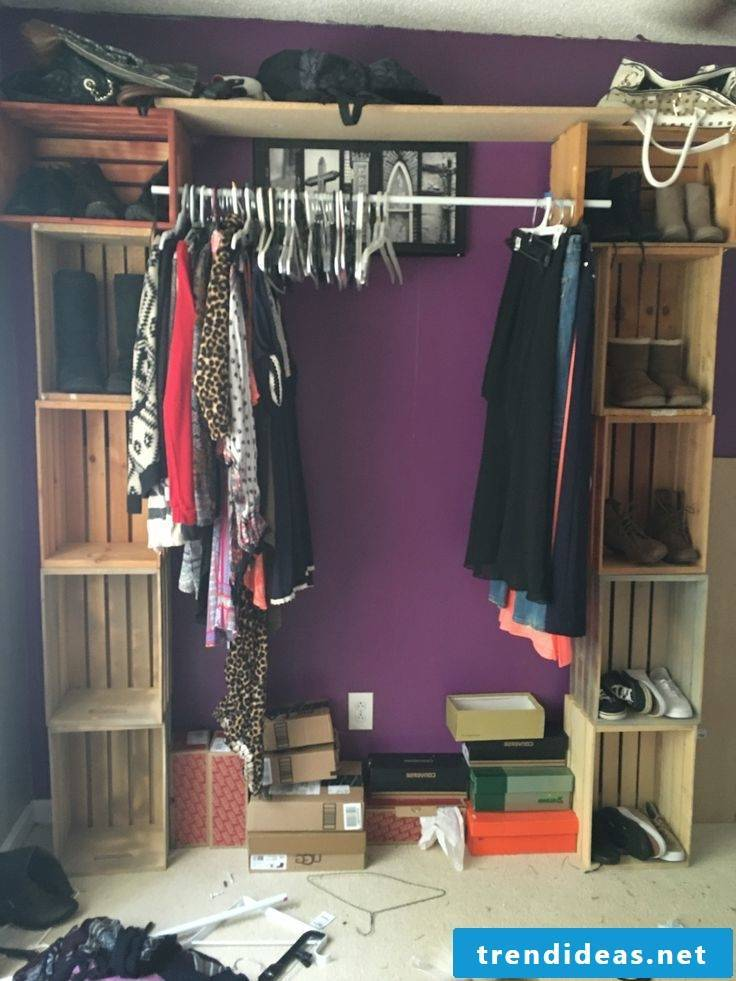 Wardrobe and shoe cabinet itself build from wooden boxes