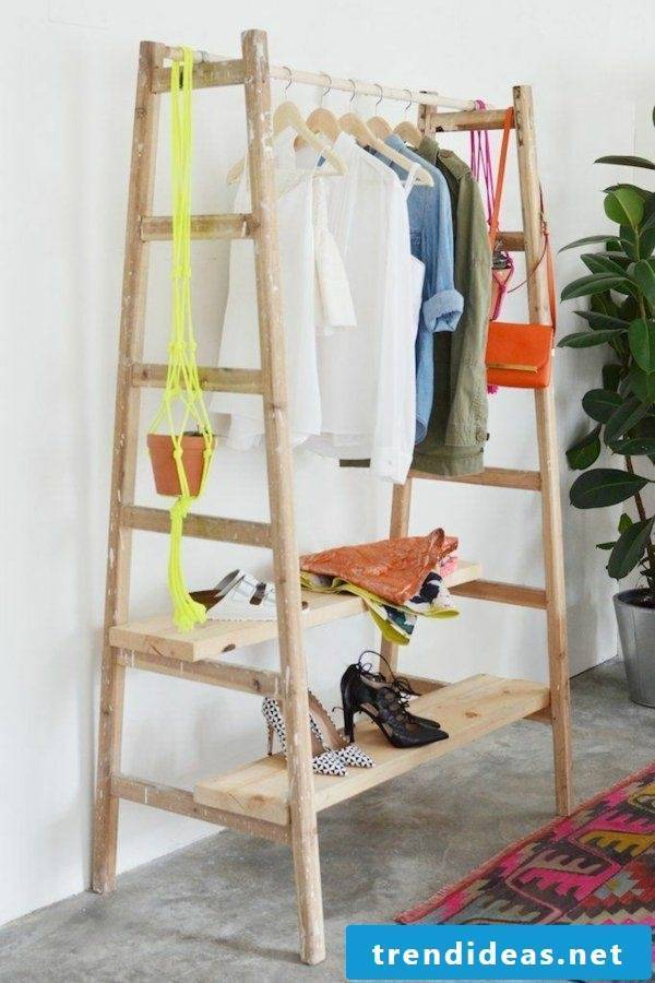 Build upcycling ladder wardrobe yourself