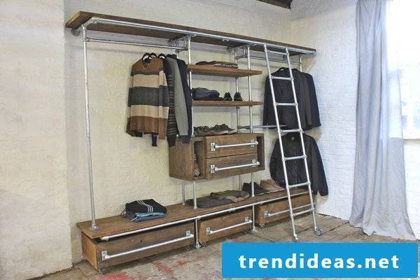 Build wardrobe yourself from wood and metal