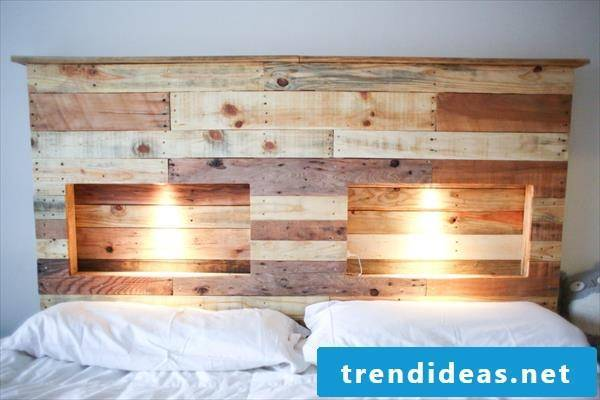 DIY headboard for bed made of europallets