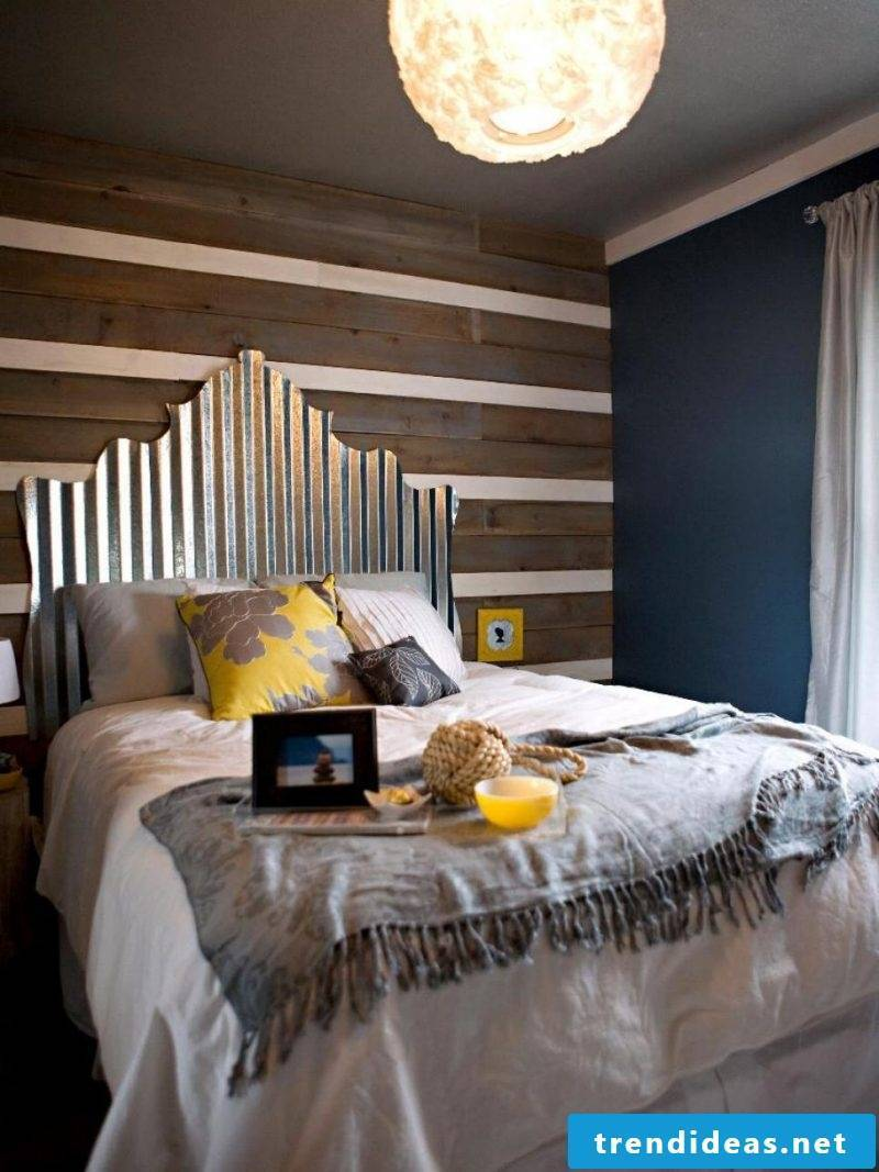Bed made of europallets with a beautiful headboard
