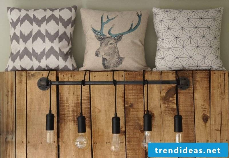 Headboard with lamps for DIY bed made of europallets