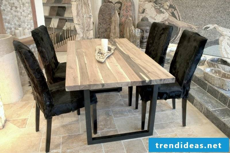 Dining table solid wood top metal frame