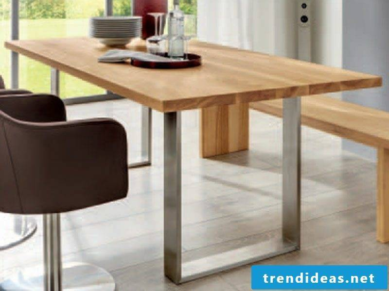 modern wooden table with metal frame industrial look