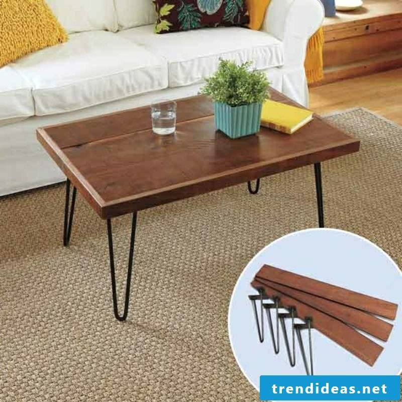 Living room table wood metal frame