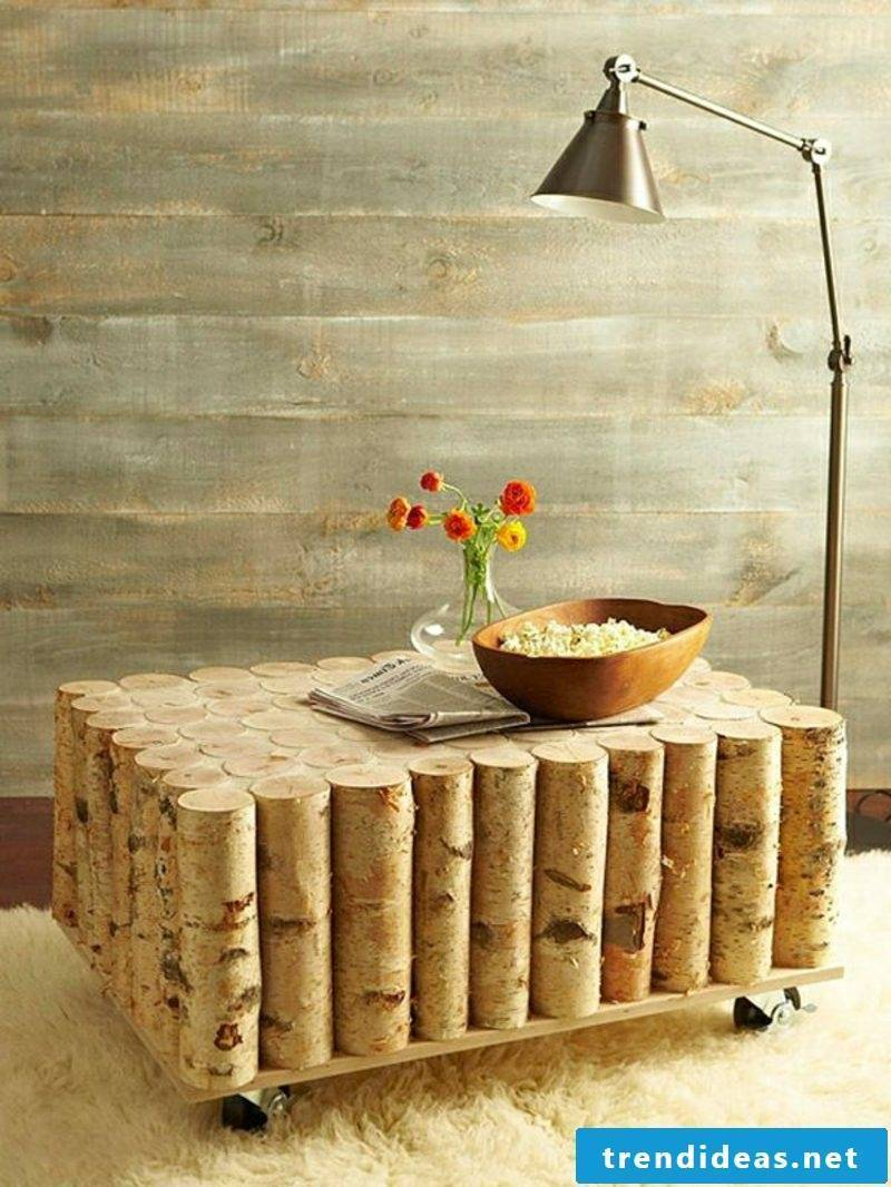 DIY wooden table tree trunk