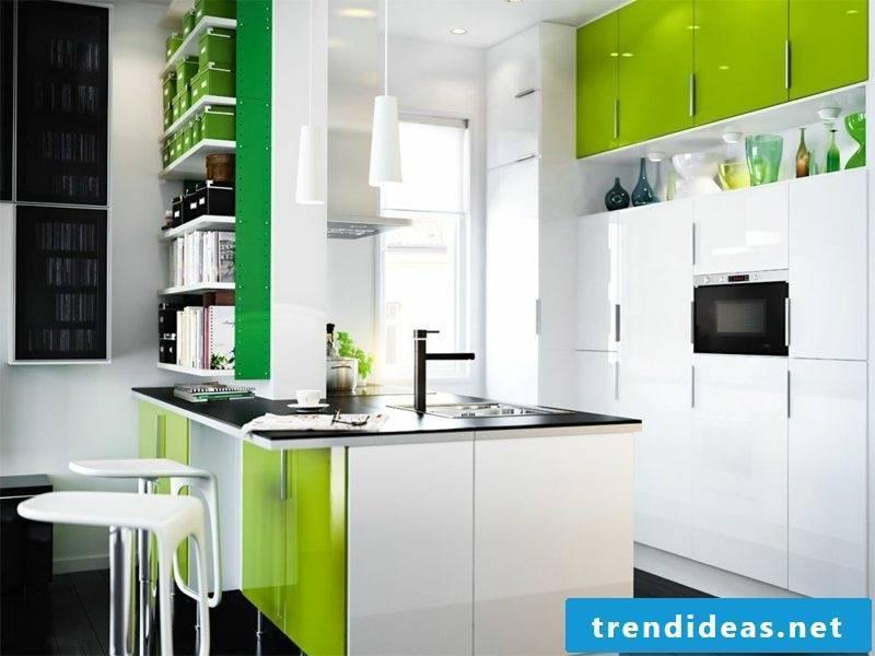 Kitchen island white and green