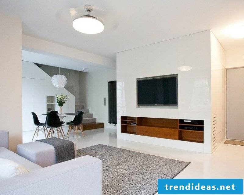 TV wall white living room modern look