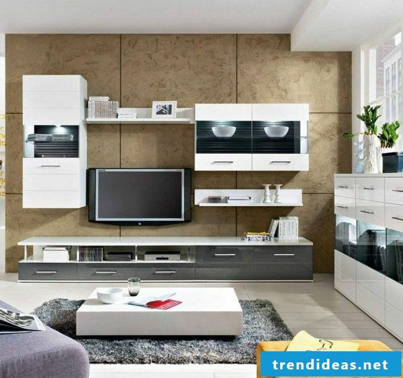 modern TV wall made of decorative wall panels