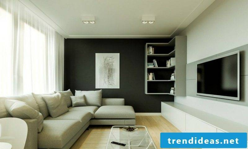TV wall living room modern look shelves black accent wall