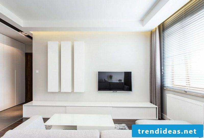 Build your own TV wall Living room furnishings in the puristic style white