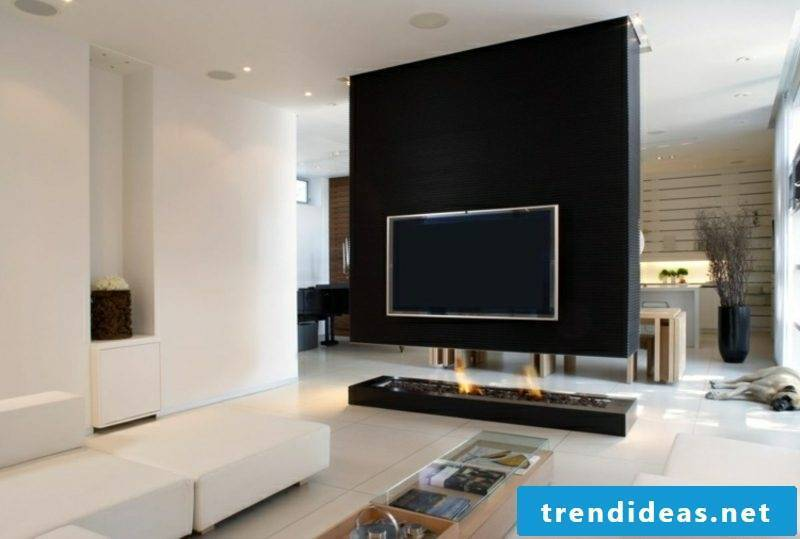 TV wall in black modern design fireplace