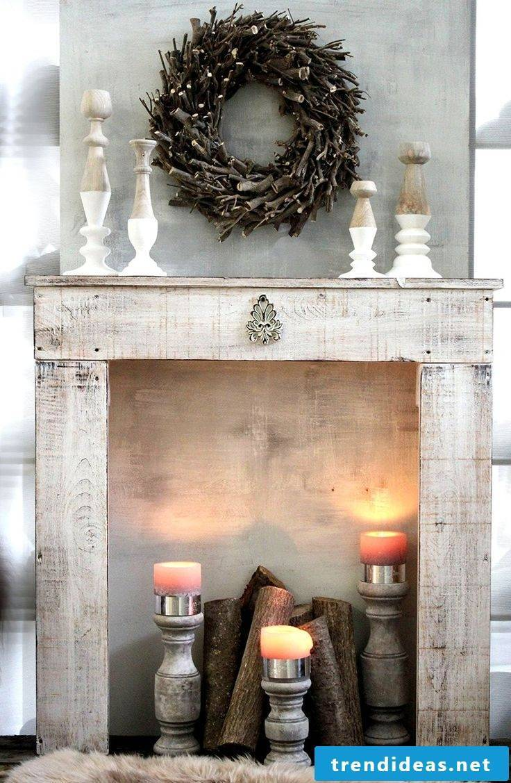 Fireplace console in vintage look