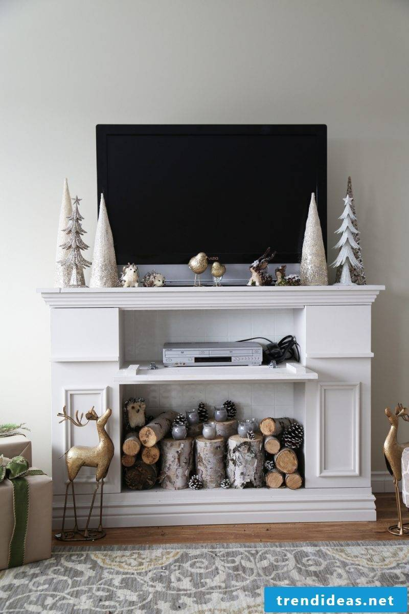 Chimney console with TV screen