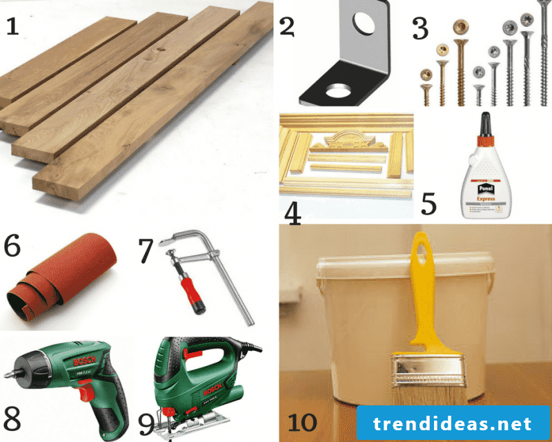 Necessary materials for the construction of a chimney console