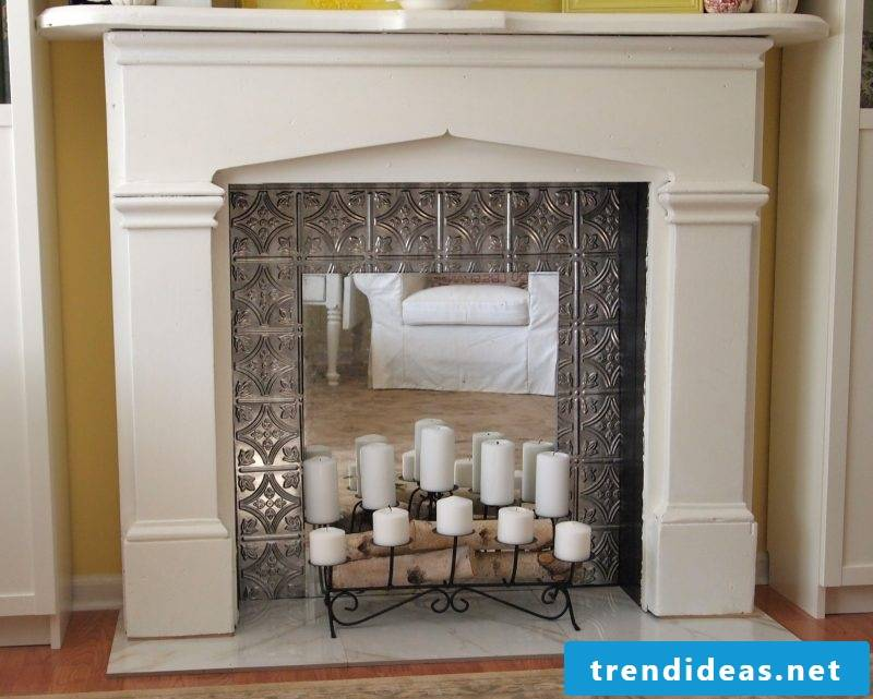 Chimney console decoration with candles