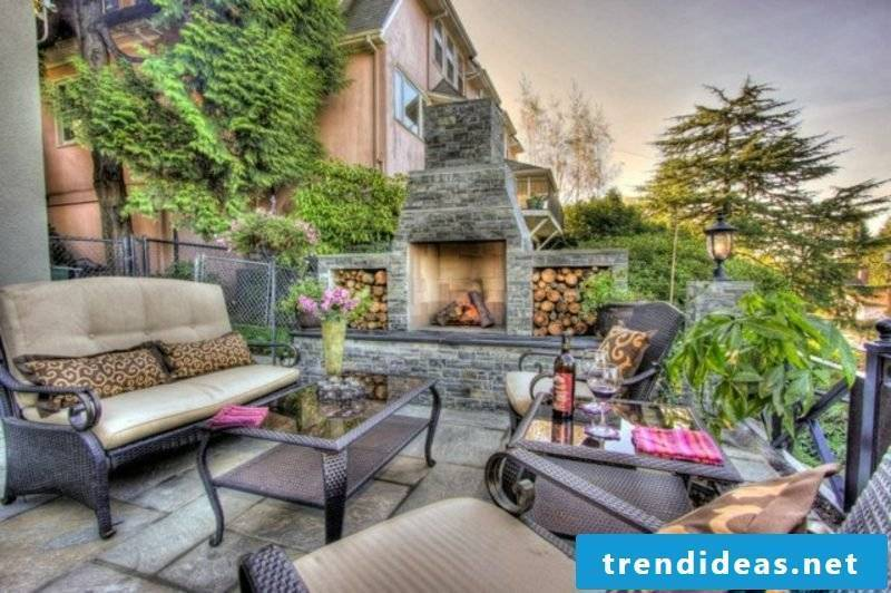 Stone fireplace with firewood departments terrace