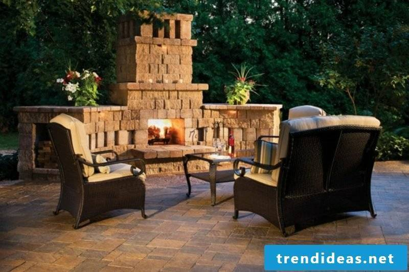 modern barbecue fireplace in stone