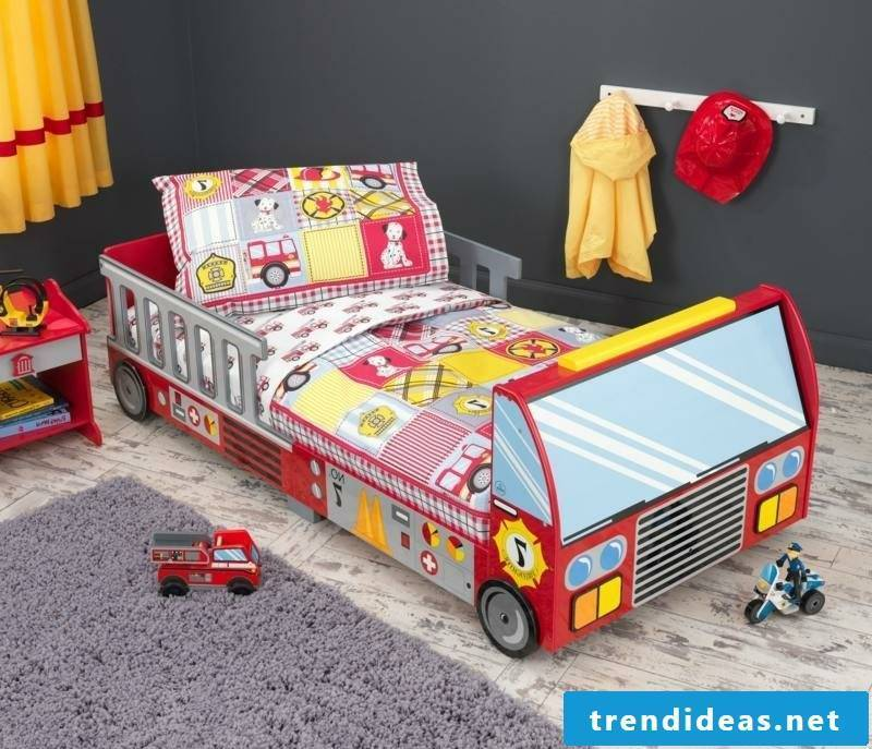Fire truck cot with growing boy's room