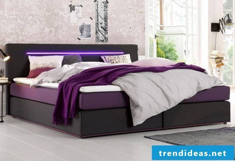 Bed sizes queen size bed modern integrated LED lighting