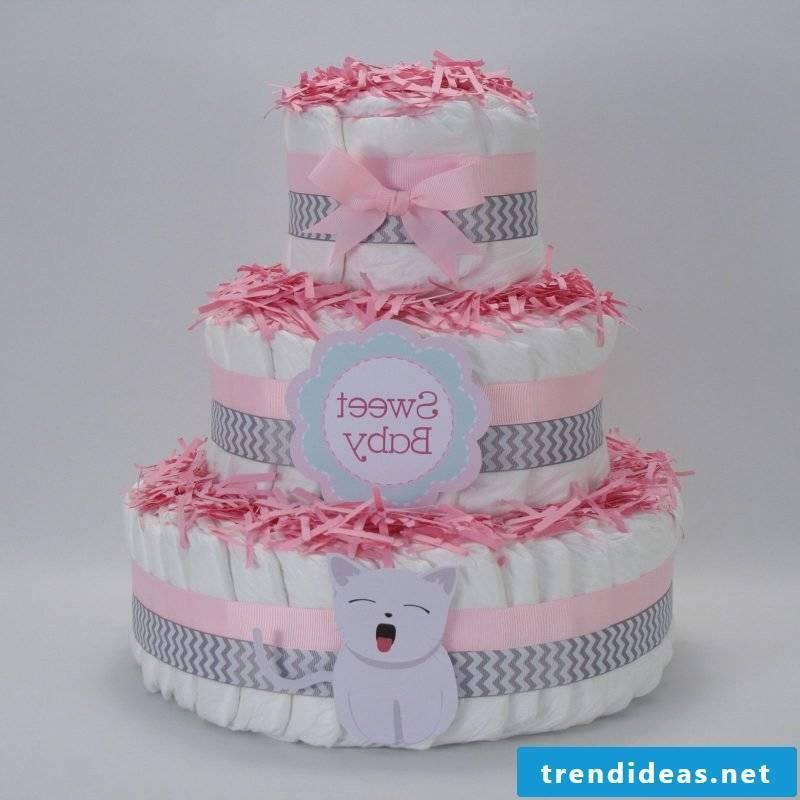 Diaper cake tinker lovingly