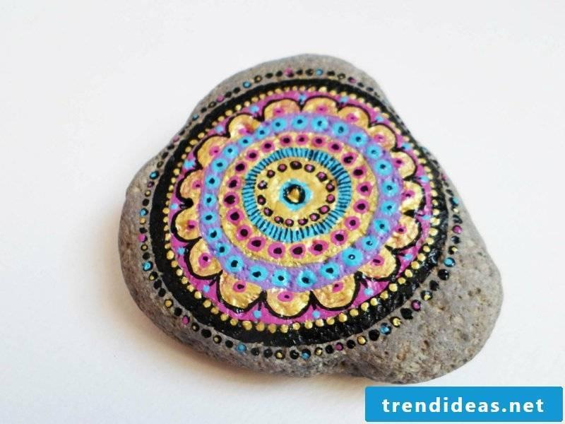 painted stones mandala colorful