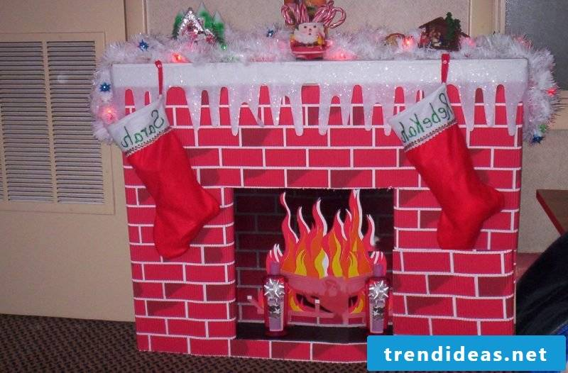 Decorative fireplace made of cardboard fake fire