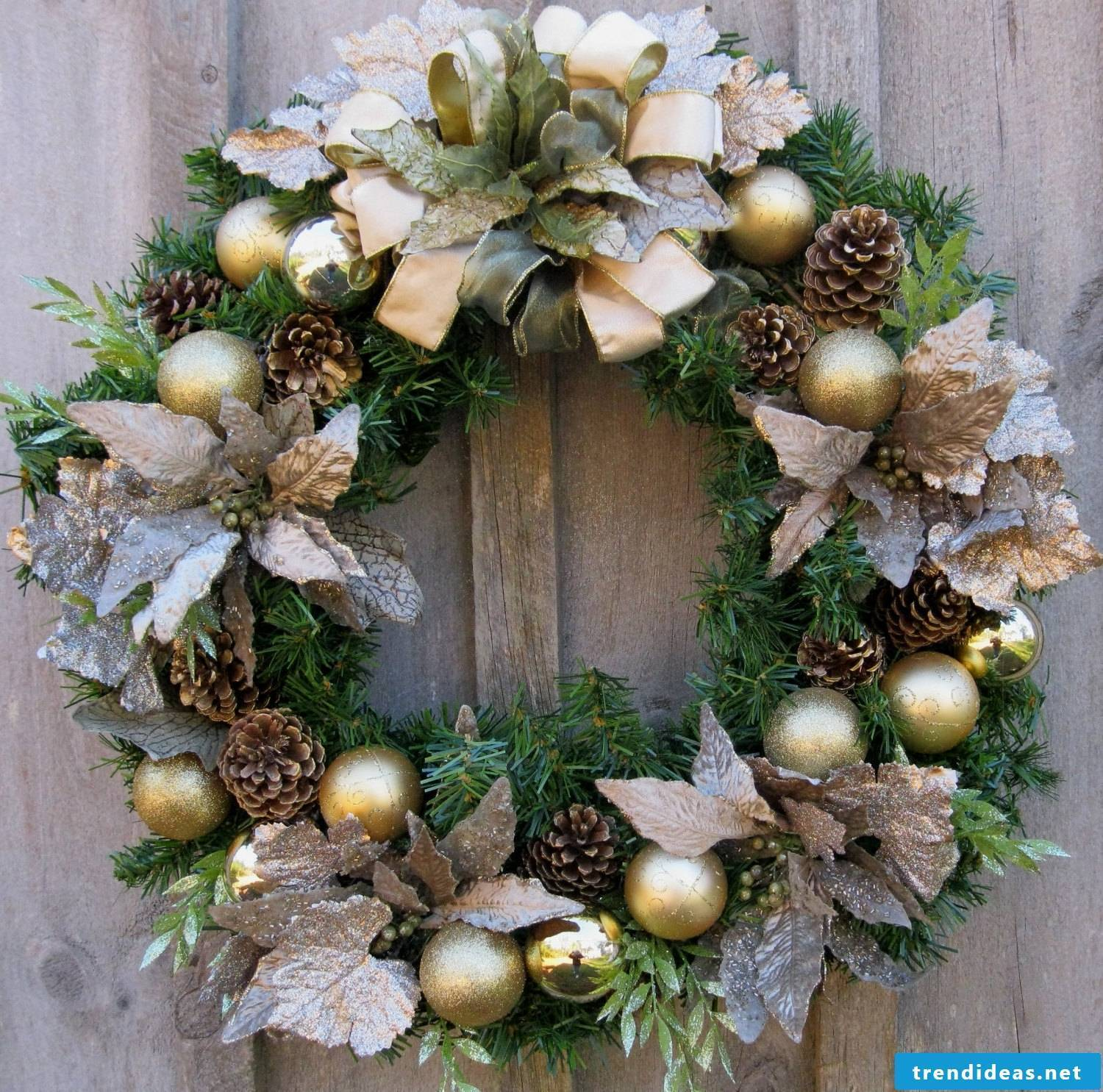 Richly decorated wreath for Christmas