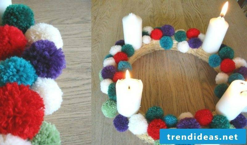 Tinker for Christmas advent wreath yarn balls