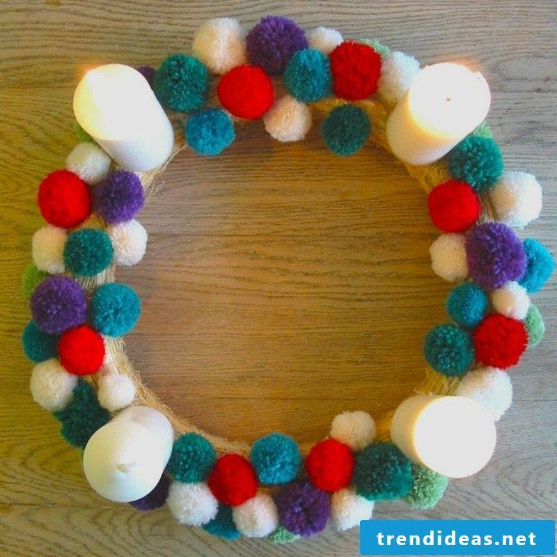 Crafting for Christmas original Advent wreath of yarn balls