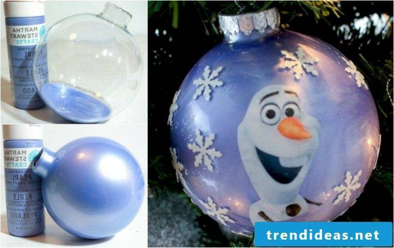 Christmas crafts with children Christmas ball with the snowman Olaf