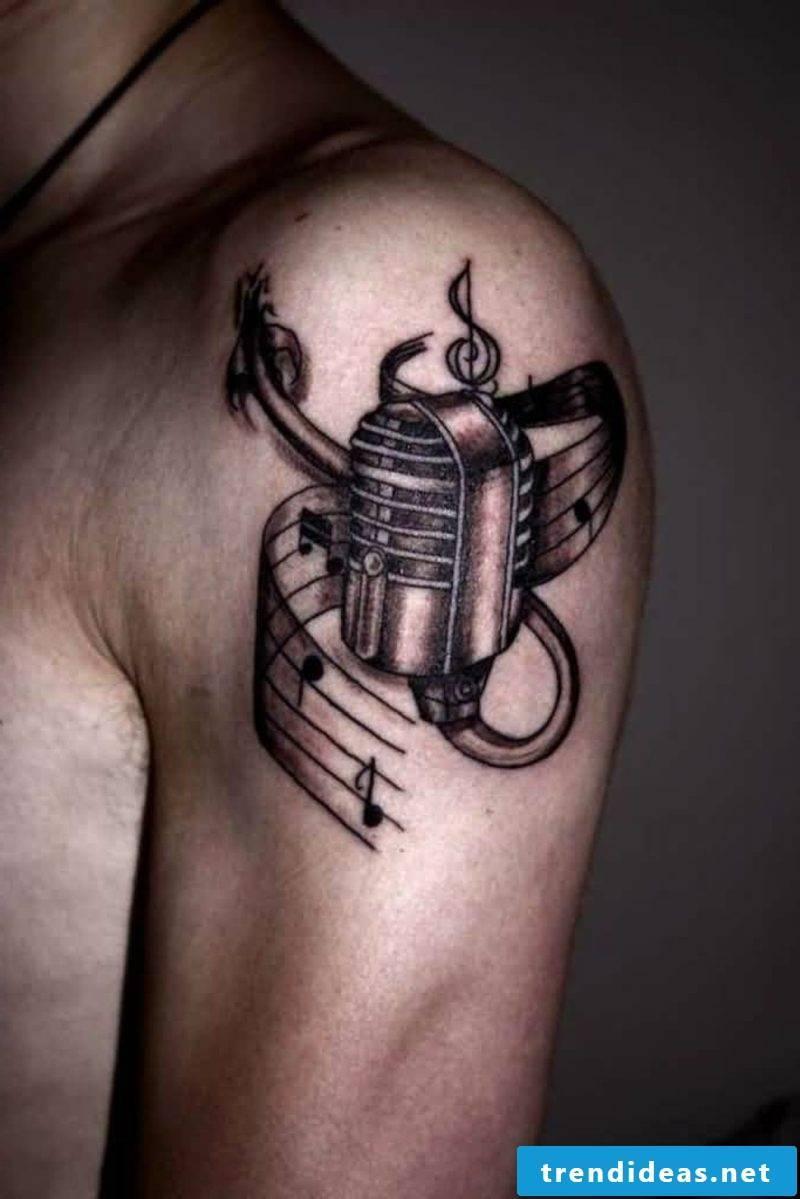keyring tattoo black gray ink shoulder