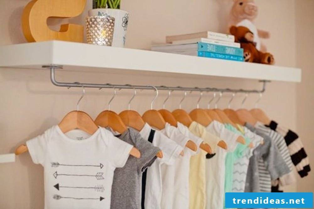 Space for cute baby clothes: wardrobe shelf