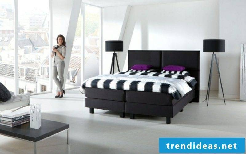 Boxspring bed fabric upholstery in black