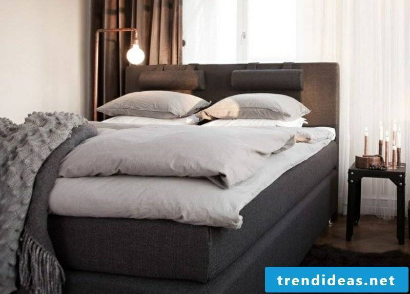 Boxspring high mattress elegant fabric upholstery in gray