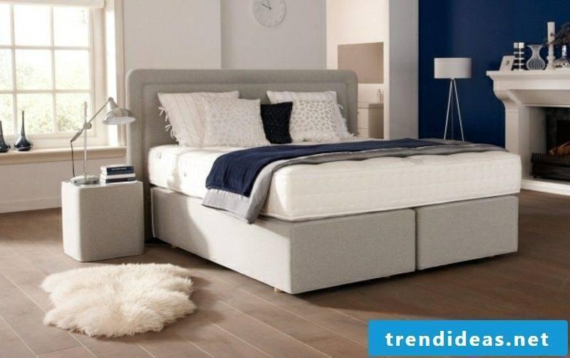 Boxspring bed light gray upholstery elegant design