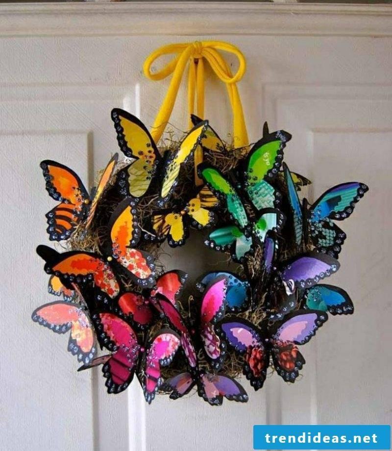 Crafting ideas Spring wreath butterflies