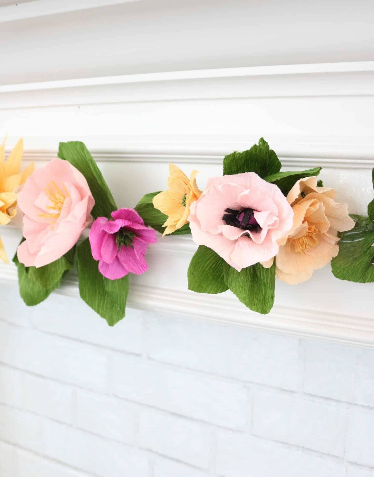 Handicrafts for nursery wall decoration with paper flowers