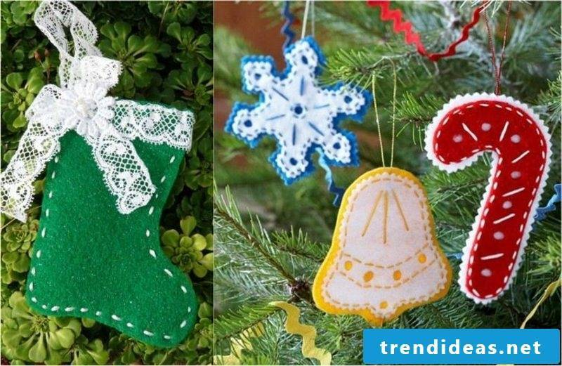 Make tree decorations from felt yourself