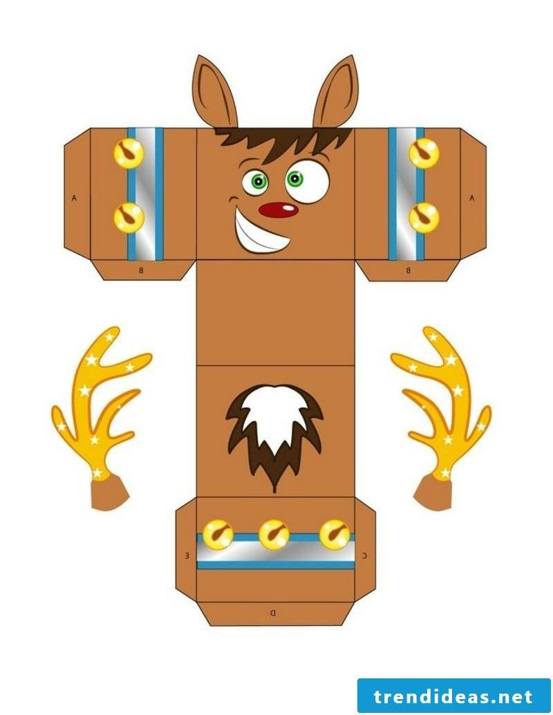 Crafting templates for Christmas Gift box Rudolf