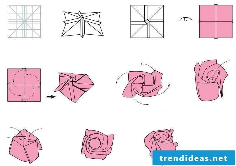 Crafting templates Origami Rose folding