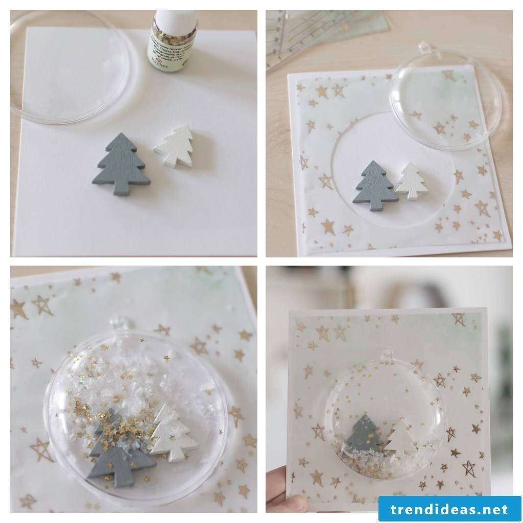 Step by step instructions for a Christmas card with snow globe
