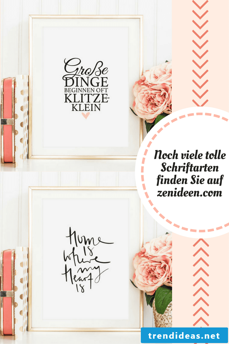 In our gallery you will find great patterns for wall decoration with calligraphic fonts, which are not only suitable for your living room, but also for your bathroom.
