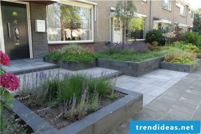 Front yard framing flower beds