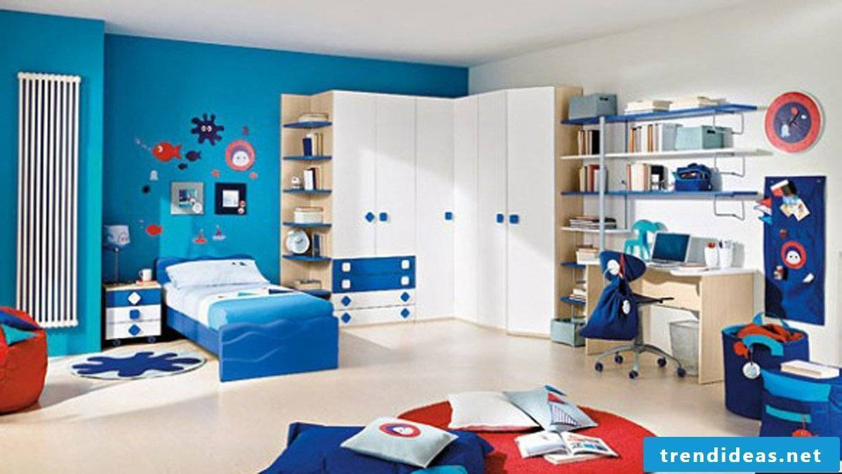Blue nursery with marine motifs
