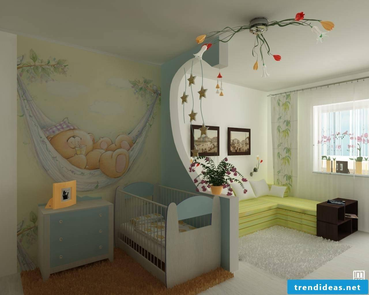Nursery design, soft colors and coziness