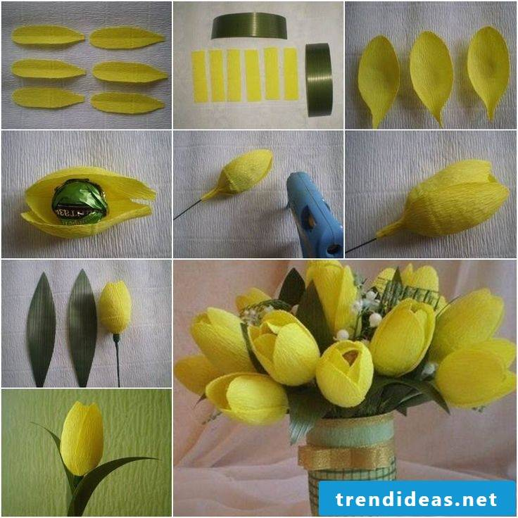 Tulips from crepe